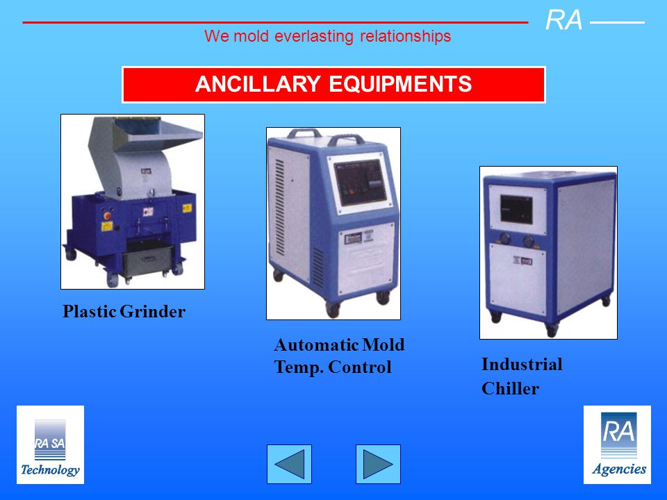 ANCILLARY EQUIPMENTS Plastic Grinder Industrial Chiller Automatic Mold Temp.