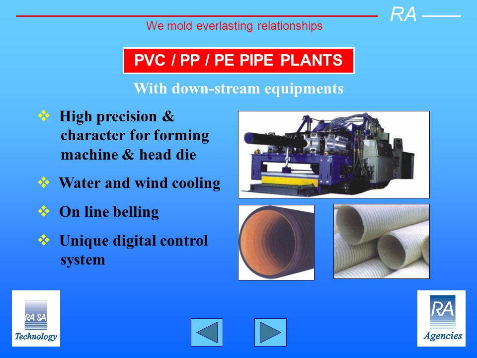 PVC / PP / PE PIPE PLANTS With down-stream equipments High precision & character for forming machine & head die Water and wind cooling On line belling Unique digital control system RA We mold everlasting relationships