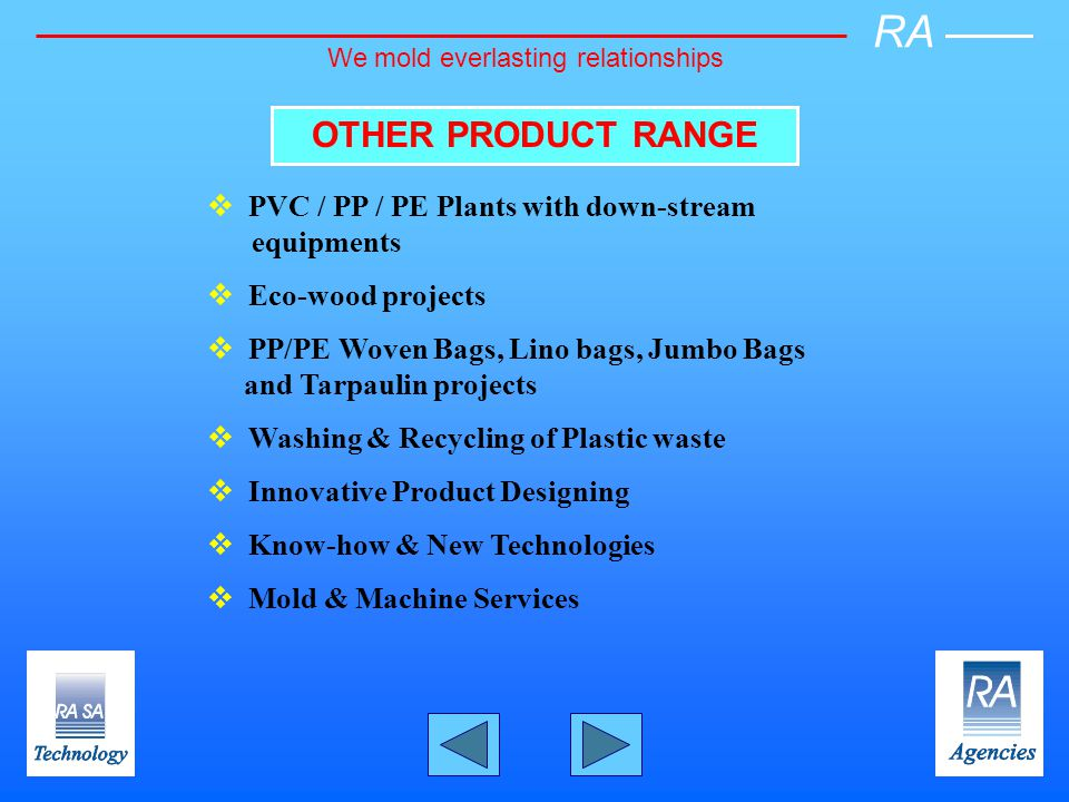 OTHER PRODUCT RANGE PVC / PP / PE Plants with down-stream equipments Eco-wood projects PP/PE Woven Bags, Lino bags, Jumbo Bags and Tarpaulin projects Washing & Recycling of Plastic waste Innovative Product Designing Know-how & New Technologies Mold & Machine Services RA We mold everlasting relationships