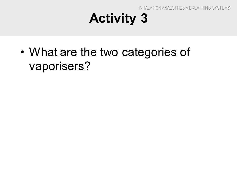 INHALATION ANAESTHESIA BREATHING SYSTEMS Activity 3 What are the two categories of vaporisers?