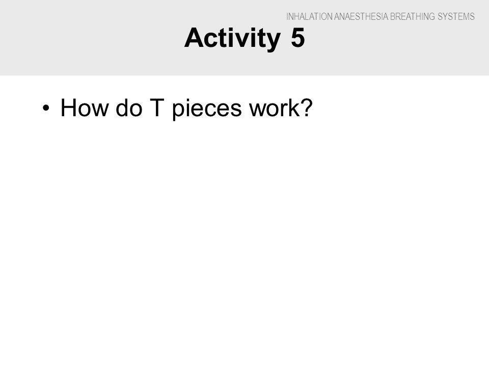 INHALATION ANAESTHESIA BREATHING SYSTEMS Activity 5 How do T pieces work