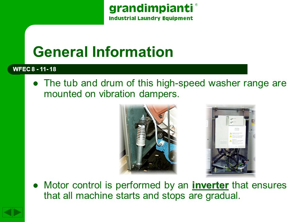 General Information The tub and drum of this high-speed washer range are mounted on vibration dampers. inverter Motor control is performed by an inver