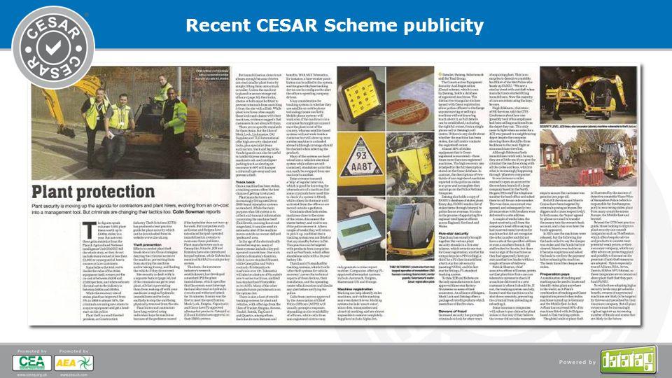 Recent CESAR Scheme publicity