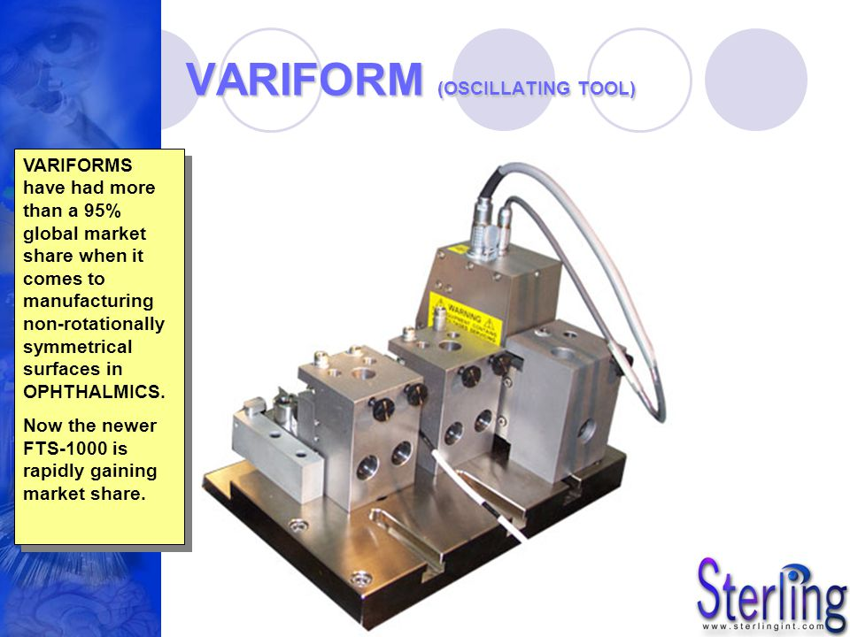 VARIFORM (OSCILLATING TOOL) VARIFORMS have had more than a 95% global market share when it comes to manufacturing non-rotationally symmetrical surface