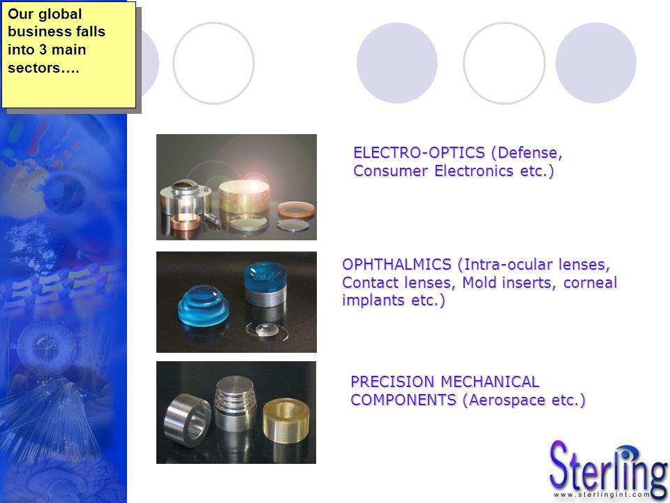 PRECISION MECHANICAL COMPONENTS (Aerospace etc.) ELECTRO-OPTICS (Defense, Consumer Electronics etc.) OPHTHALMICS (Intra-ocular lenses, Contact lenses,