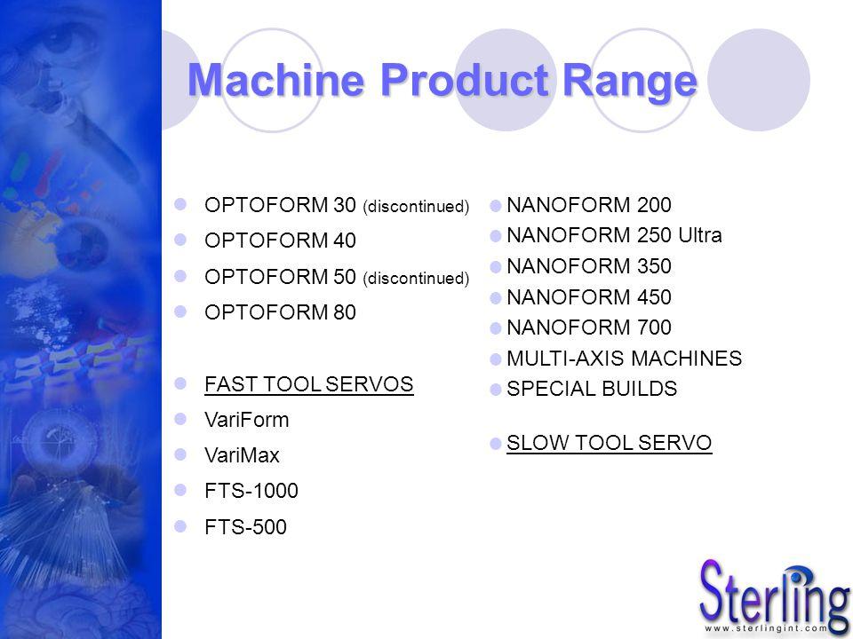 Machine Product Range OPTOFORM 30 (discontinued) OPTOFORM 40 OPTOFORM 50 (discontinued) OPTOFORM 80 FAST TOOL SERVOS VariForm VariMax FTS-1000 FTS-500