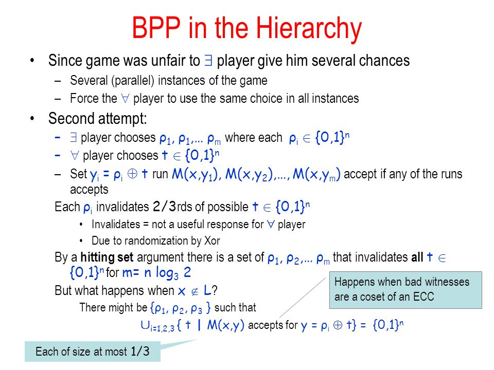 BPP in the Hierarchy Since game was unfair to player give him several chances –Several (parallel) instances of the game –Force the player to use the same choice in all instances Second attempt: – player chooses ρ 1, ρ 1,… ρ m where each ρ i 2 {0,1} n – player chooses t 2 {0,1} n –Set y i = ρ i t run M(x,y 1 ), M(x,y 2 ),…, M(x,y m ) accept if any of the runs accepts Each ρ i invalidates 2/3 rds of possible t 2 {0,1} n Invalidates = not a useful response for player Due to randomization by Xor By a hitting set argument there is a set of ρ 1, ρ 2,… ρ m that invalidates all t 2 {0,1} n for m= n log 3 2 But what happens when x L .