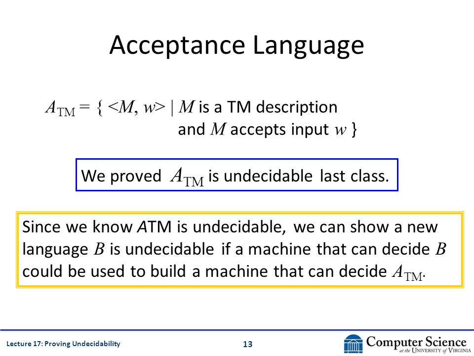13 Lecture 17: Proving Undecidability Acceptance Language A TM = { | M is a TM description and M accepts input w } We proved A TM is undecidable last class.