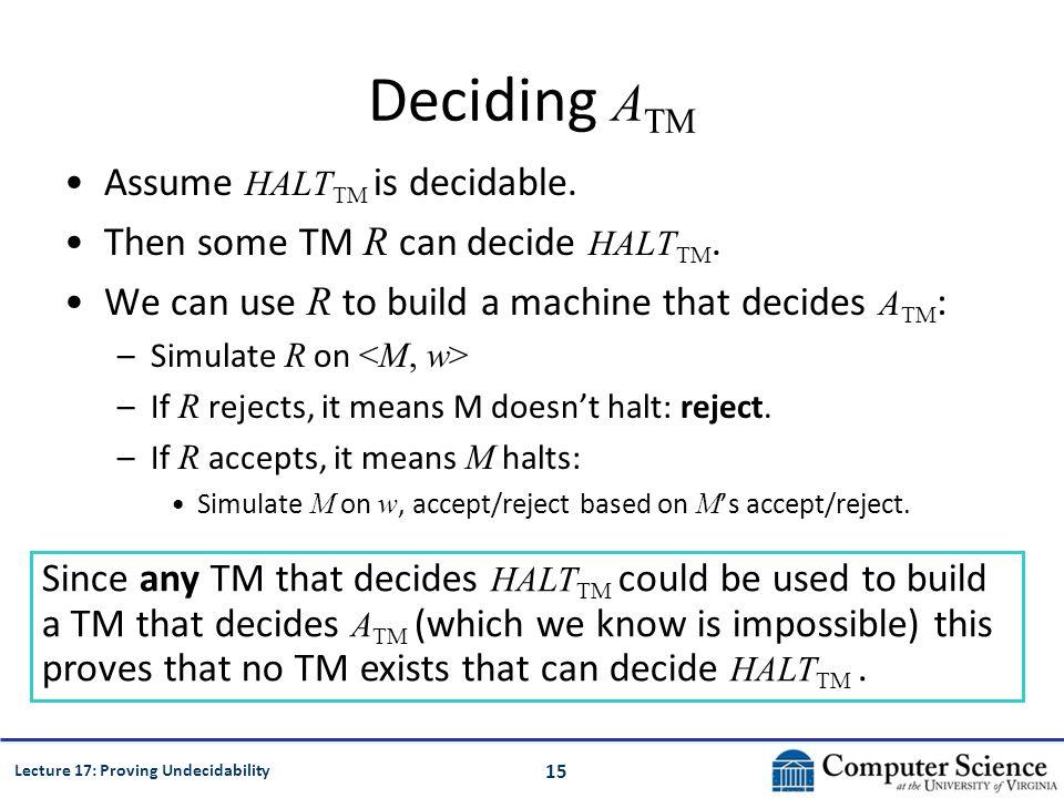 15 Lecture 17: Proving Undecidability Deciding A TM Assume HALT TM is decidable.
