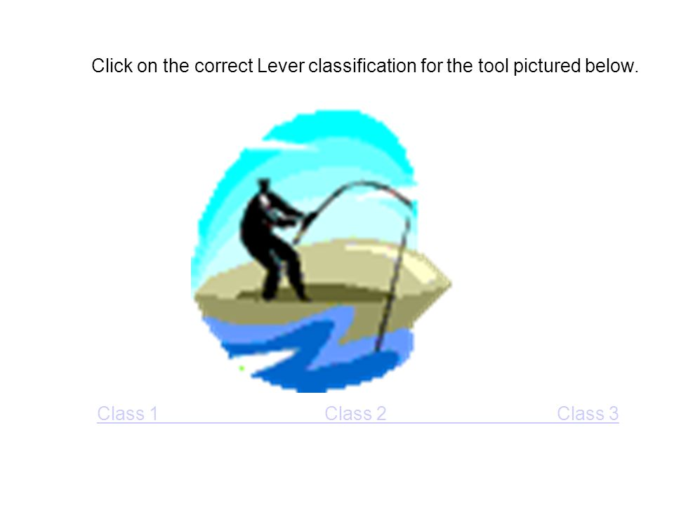 Click on the correct Lever classification for the tool pictured below. Class 1 Class 2 Class 3
