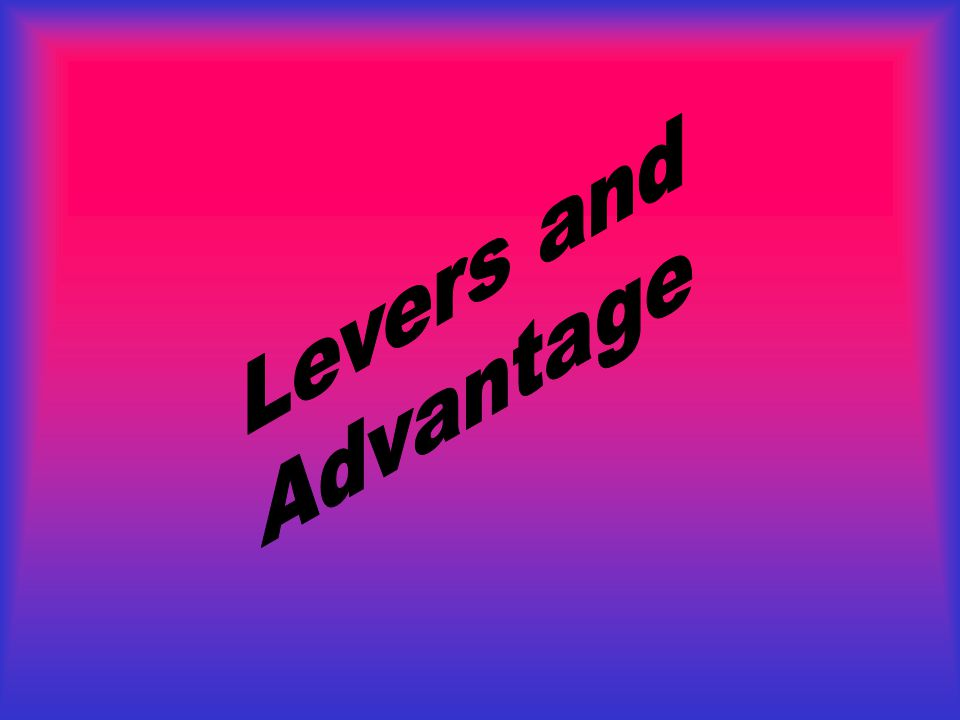 You have successfully matched the common hand tools with their correct classification of lever. Be sure to remember: F L E 1 2 3