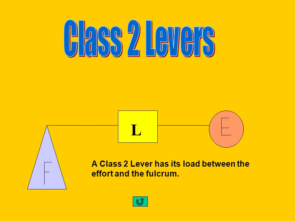 A Class 1 Lever has its fulcrum between the effort and the load. F
