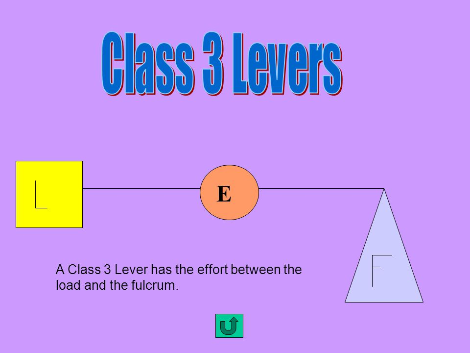 A Class 2 Lever has its load between the effort and the fulcrum. L