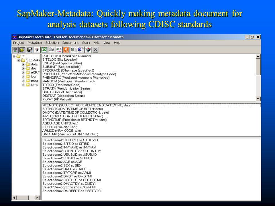 SapMaker-Metadata: Quickly making metadata document for analysis datasets following CDISC standards