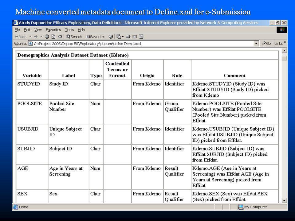 Machine converted metadata document to Define.xml for e-Submission