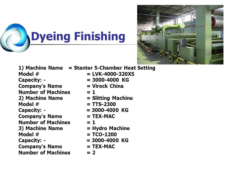 1) Machine Name = Stanter 5-Chamber Heat Setting Model # = LVK-4000-320X5 Capacity: - = 3000-4000 KG Companys Name = Virock China Number of Machines =