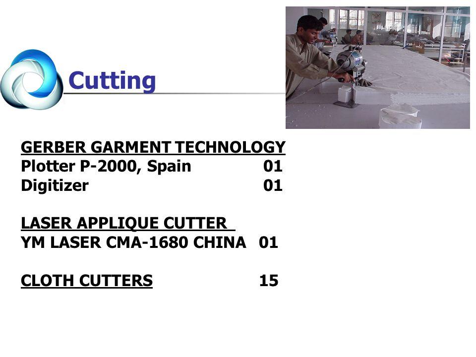 GERBER GARMENT TECHNOLOGY Plotter P-2000, Spain 01 Digitizer 01 LASER APPLIQUE CUTTER YM LASER CMA-1680 CHINA01 CLOTH CUTTERS15 Cutting