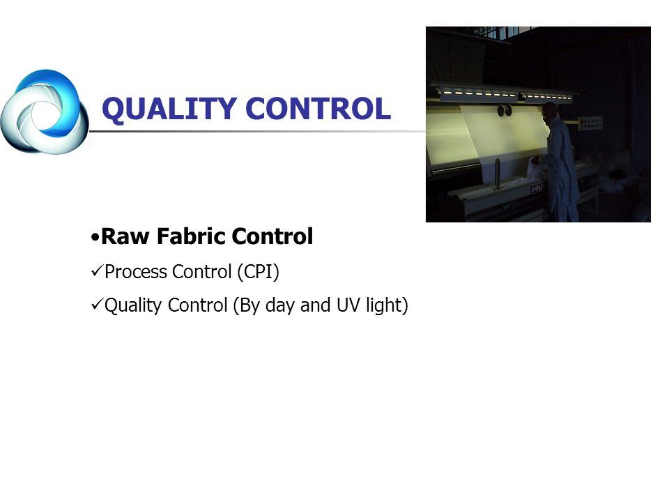 Raw Fabric Control Process Control (CPI) Quality Control (By day and UV light) QUALITY CONTROL