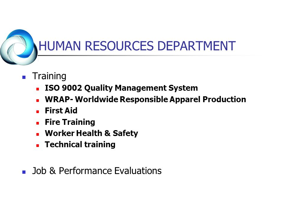HUMAN RESOURCES DEPARTMENT Training ISO 9002 Quality Management System WRAP- Worldwide Responsible Apparel Production First Aid Fire Training Worker H