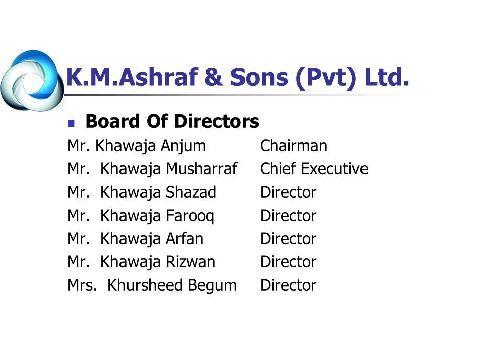 Board Of Directors Mr. Khawaja AnjumChairman Mr. Khawaja MusharrafChief Executive Mr. Khawaja ShazadDirector Mr. Khawaja FarooqDirector Mr. Khawaja Ar
