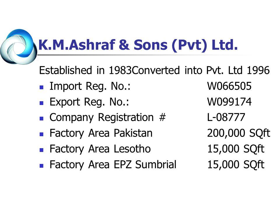 K.M.Ashraf & Sons (Pvt) Ltd. Established in 1983Converted into Pvt. Ltd 1996 Import Reg. No.: W066505 Export Reg. No.: W099174 Company Registration #L