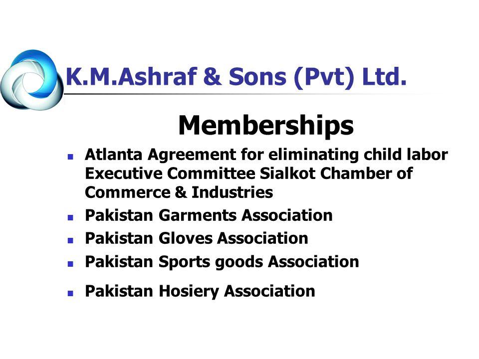 K.M.Ashraf & Sons (Pvt) Ltd. Memberships Atlanta Agreement for eliminating child labor Executive Committee Sialkot Chamber of Commerce & Industries Pa