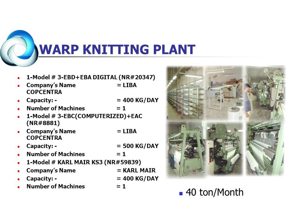 WARP KNITTING PLANT 1-Model # 3-EBD+EBA DIGITAL (NR#20347) Companys Name = LIBA COPCENTRA Capacity: - = 400 KG/DAY Number of Machines = 1 1-Model # 3-