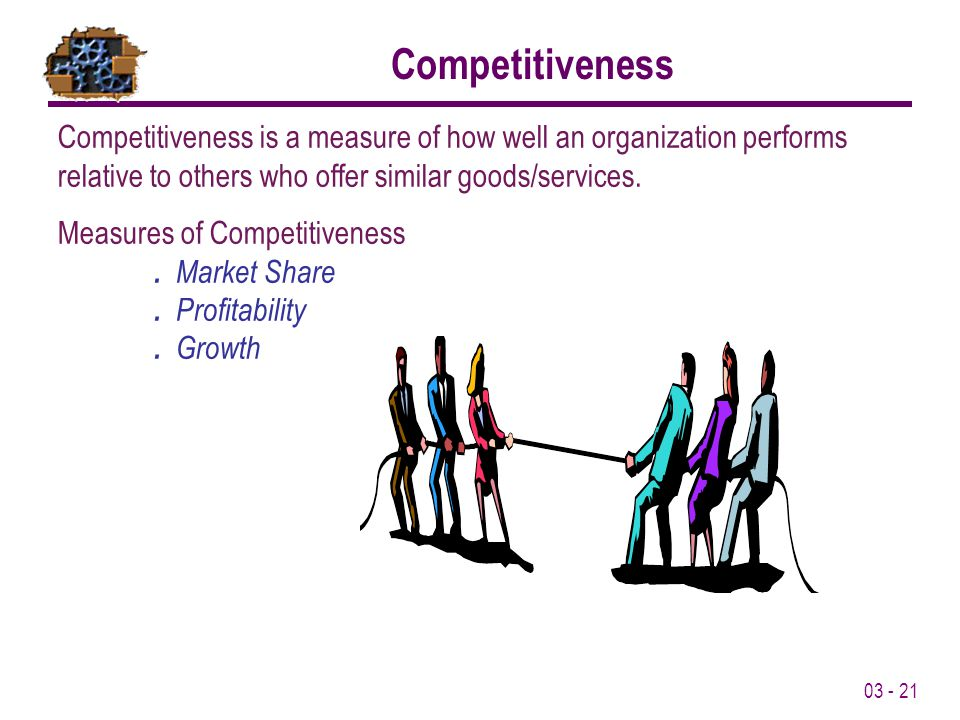 03 - 21 Competitiveness Competitiveness is a measure of how well an organization performs relative to others who offer similar goods/services. Measure