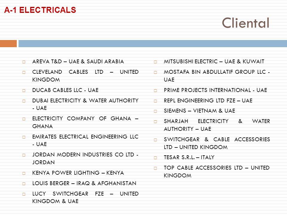 Cliental AREVA T&D – UAE & SAUDI ARABIA CLEVELAND CABLES LTD – UNITED KINGDOM DUCAB CABLES LLC - UAE DUBAI ELECTRICITY & WATER AUTHORITY - UAE ELECTRICITY COMPANY OF GHANA – GHANA EMIRATES ELECTRICAL ENGINEERING LLC - UAE JORDAN MODERN INDUSTRIES CO LTD - JORDAN KENYA POWER LIGHTING – KENYA LOUIS BERGER – IRAQ & AFGHANISTAN LUCY SWITCHGEAR FZE – UNITED KINGDOM & UAE MITSUBISHI ELECTRIC – UAE & KUWAIT MOSTAFA BIN ABDULLATIF GROUP LLC - UAE PRIME PROJECTS INTERNATIONAL - UAE REPL ENGINEERING LTD FZE – UAE SIEMENS – VIETNAM & UAE SHARJAH ELECTRICITY & WATER AUTHORITY – UAE SWITCHGEAR & CABLE ACCESSORIES LTD – UNITED KINGDOM TESAR S.R.L.