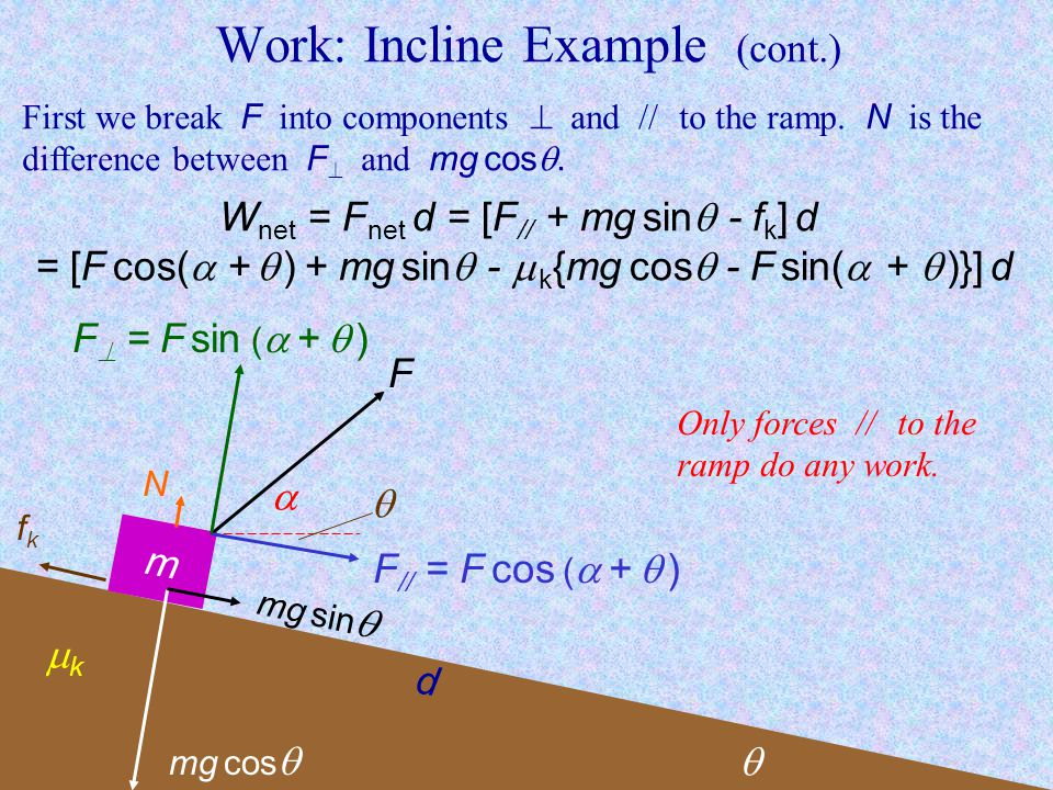 Work: Incline Example (cont.) First we break F into components and // to the ramp.