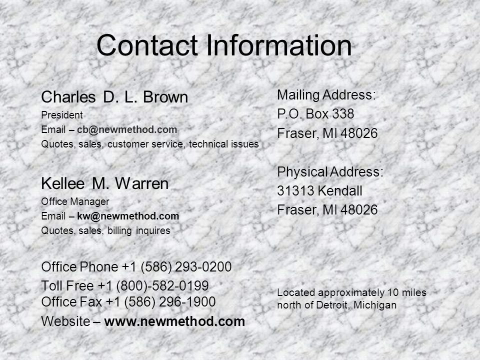 Contact Information Charles D.L.