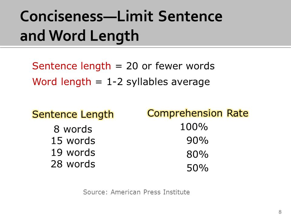 8 Source: American Press Institute Sentence length = 20 or fewer words Word length = 1-2 syllables average