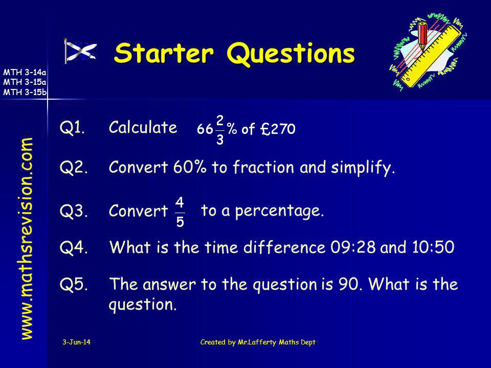 3-Jun-14Created by Mr.Lafferty Maths Dept Starter Questions www.mathsrevision.com Q1.Calculate Q2.Convert 60% to fraction and simplify. Q3.Convert Q4.