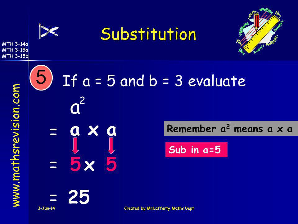 3-Jun-14Created by Mr.Lafferty Maths Dept If a = 5 and b = 3 evaluate a Sub in a=5 Remember a 2 means a x a 5 a x a 5x5 = = =25 2 www.mathsrevision.co