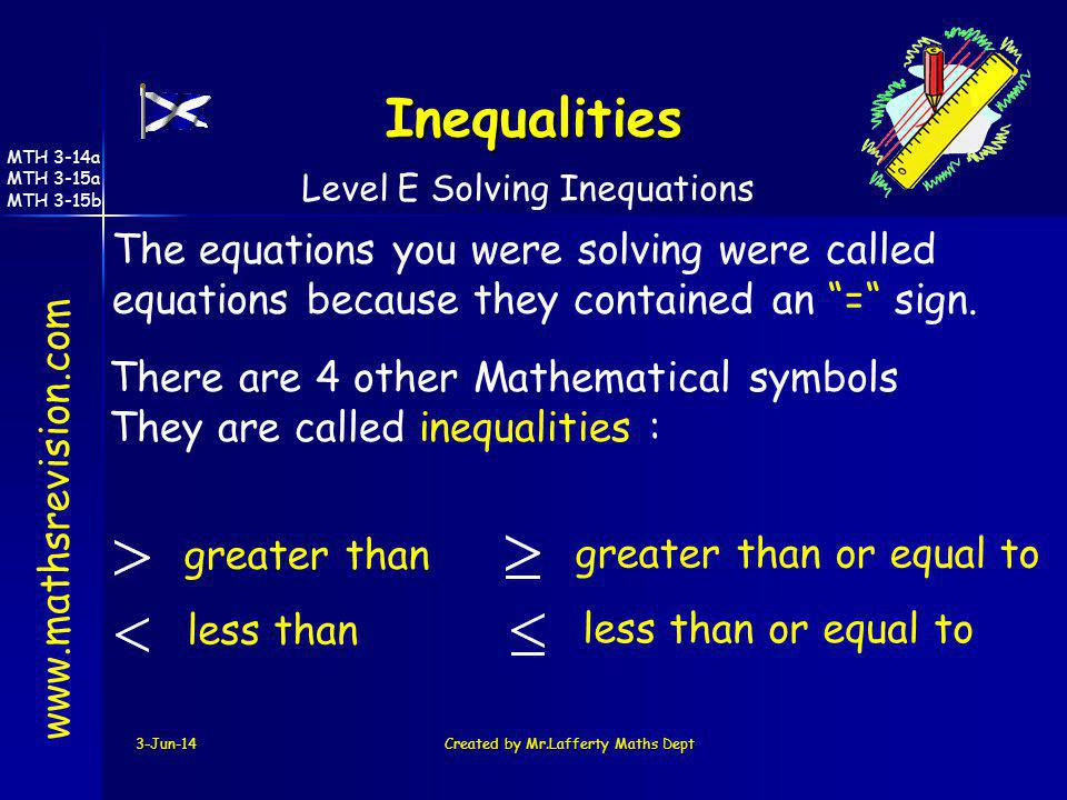 3-Jun-14Created by Mr.Lafferty Maths Dept www.mathsrevision.com Level E Solving Inequations The equations you were solving were called equations becau