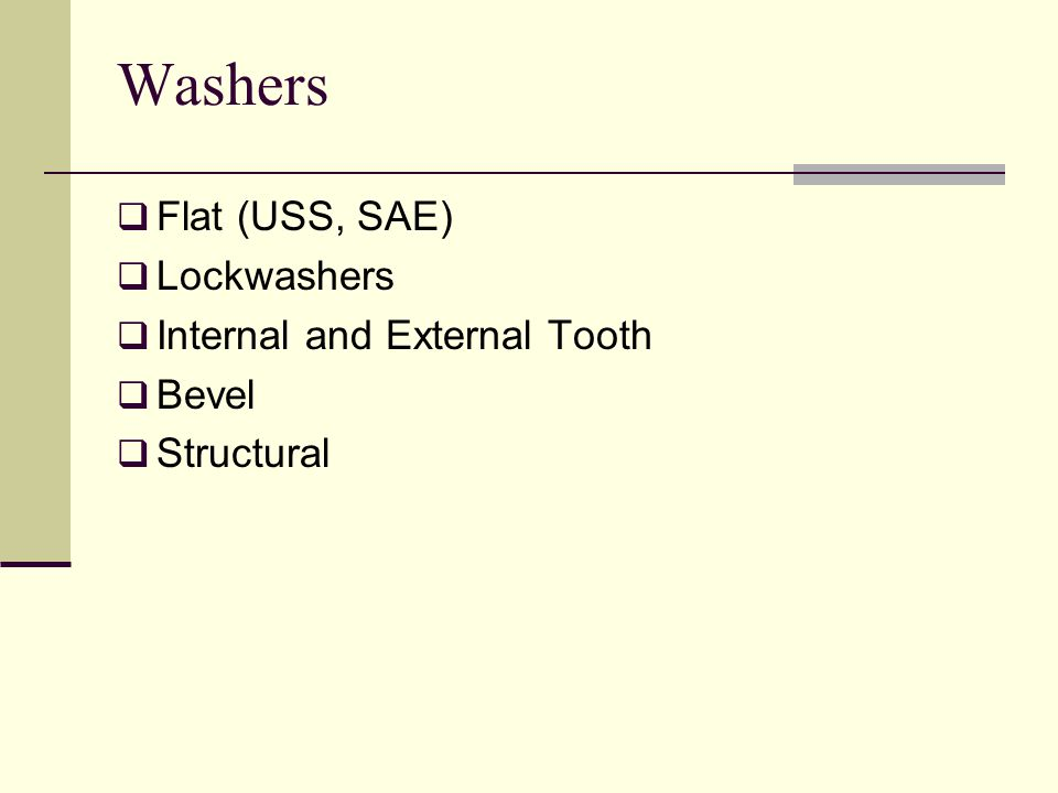 Washers Flat (USS, SAE) Lockwashers Internal and External Tooth Bevel Structural