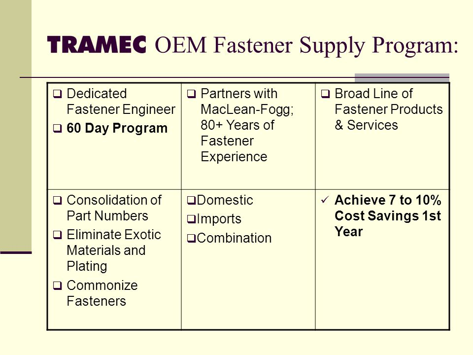 OEM Fastener Supply Program: Dedicated Fastener Engineer 60 Day Program Partners with MacLean-Fogg; 80+ Years of Fastener Experience Broad Line of Fastener Products & Services Consolidation of Part Numbers Eliminate Exotic Materials and Plating Commonize Fasteners Domestic Imports Combination Achieve 7 to 10% Cost Savings 1st Year