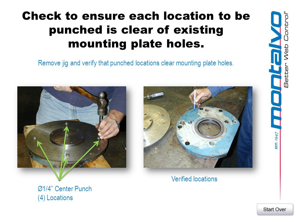 Check to ensure each location to be punched is clear of existing mounting plate holes. Remove jig and verify that punched locations clear mounting pla