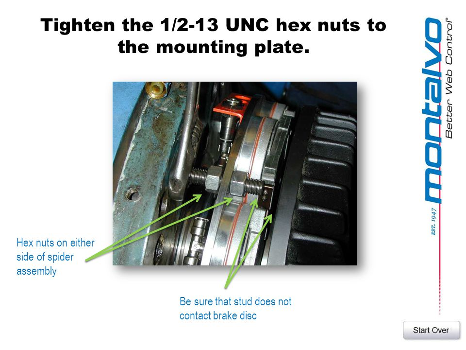 Tighten the 1/2-13 UNC hex nuts to the mounting plate. Hex nuts on either side of spider assembly Be sure that stud does not contact brake disc