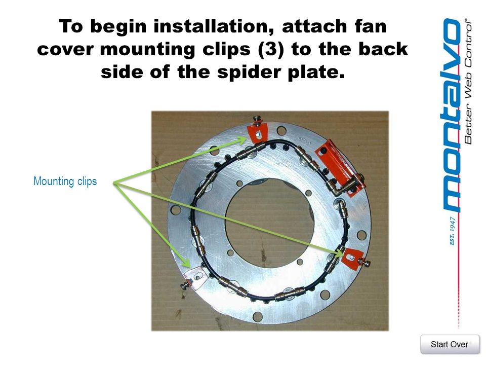 To begin installation, attach fan cover mounting clips (3) to the back side of the spider plate. Mounting clips