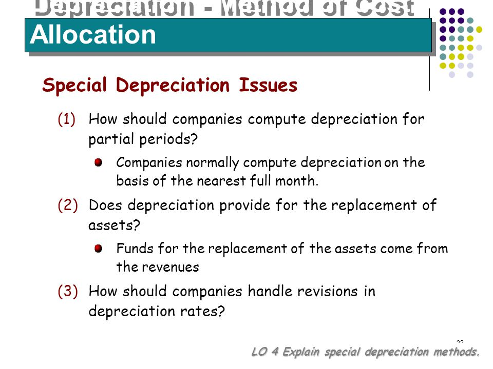 22 Depreciation - Method of Cost Allocation LO 4 Explain special depreciation methods. Special Depreciation Issues (1)How should companies compute dep