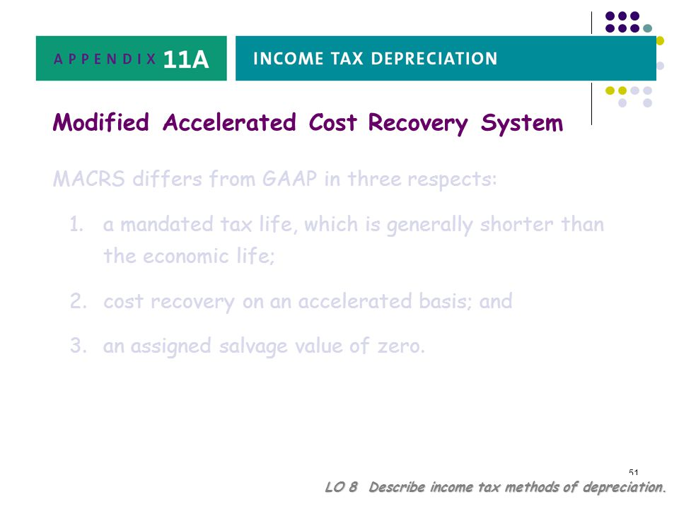 51 LO 8 Describe income tax methods of depreciation. Modified Accelerated Cost Recovery System MACRS differs from GAAP in three respects: 1.a mandated