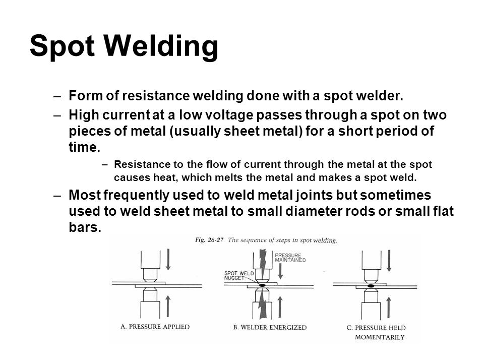 Spot Welding –Form of resistance welding done with a spot welder. –High current at a low voltage passes through a spot on two pieces of metal (usually