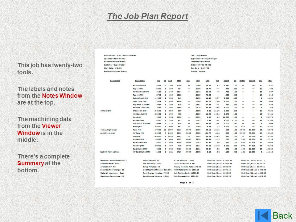 Back The Job Plan Report This job has twenty-two tools. The labels and notes from the Notes Window are at the top. The machining data from the Viewer