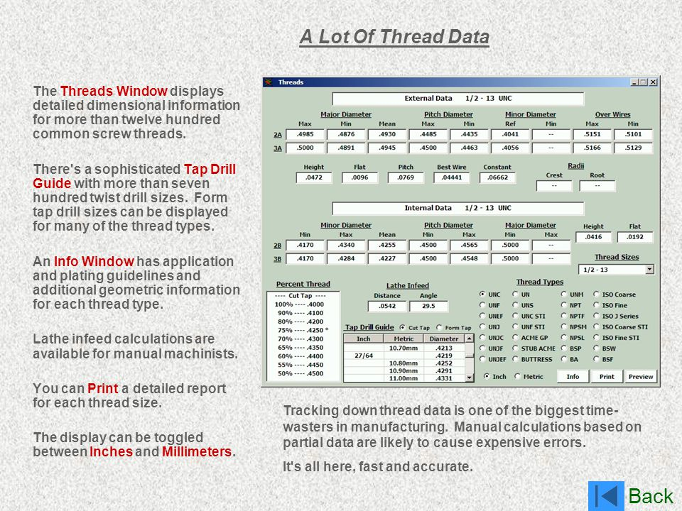 Back A Lot Of Thread Data The Threads Window displays detailed dimensional information for more than twelve hundred common screw threads. There's a so