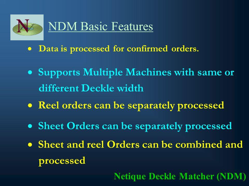 Objective Minimize the Trim Loss by Maximize the Deckle utilization. Netique Deckle Matcher (NDM) Maximize the Customer Satisfaction.