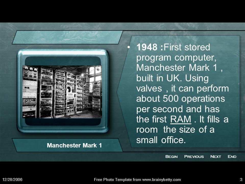 1947 : Transistor, essential storage device for computers invented by American engineers William Shockley, John Bardeen, and Walter Bartain.