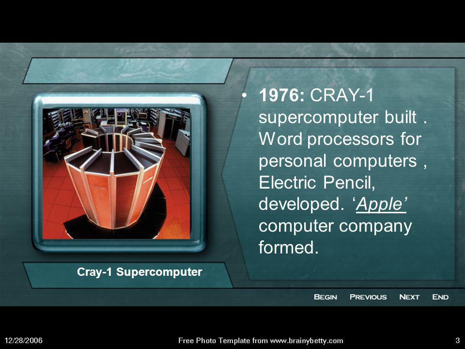 1971: First microprocessor chip, the Intel 4004, produced in US.