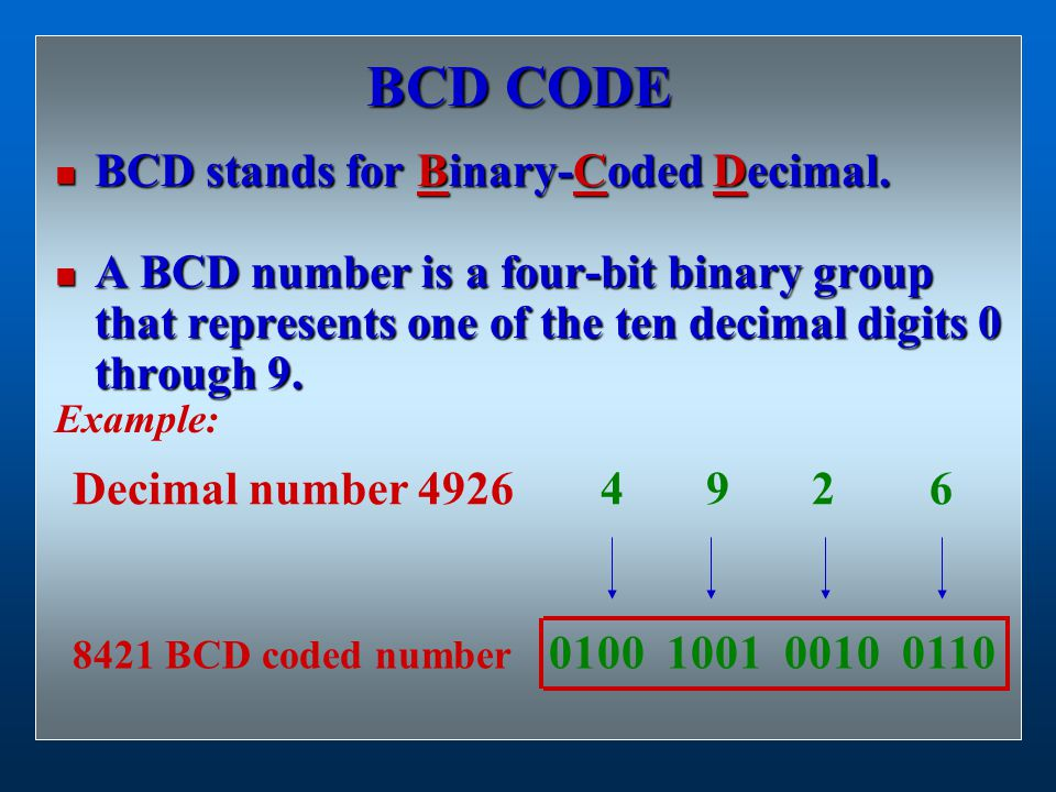 BCD CODE BCD stands for Binary-Coded Decimal. BCD stands for Binary-Coded Decimal. A BCD number is a four-bit binary group that represents one of the