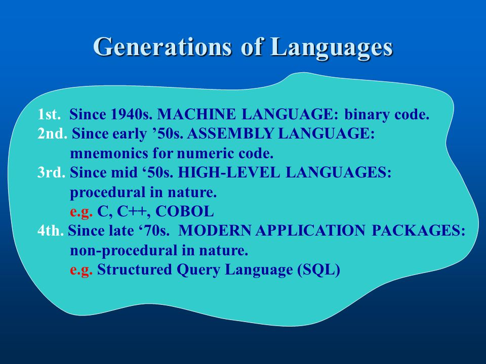 Generations of Languages 1st. Since 1940s. MACHINE LANGUAGE: binary code. 2nd. Since early 50s. ASSEMBLY LANGUAGE: mnemonics for numeric code. 3rd. Si
